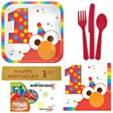 Elmo 1st Birthday Party Supplies - Bundle Including Plates, Napkins, Utensils and Bonus Printed Ribbon