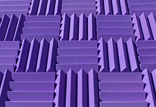 Wedge Style Acoustic Foam Panels 2 Pack - 12in x 12in x 3 Inch Thick Tiles - Soundproofing Acoustic Studio Foam - Purple Color