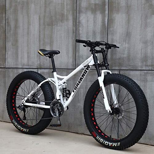 AISHFP Mens 24 Pollici Fat Tire Mountain Bike, Biciclette Spiaggia Neve, Doppio Freno a Disco Cruiser Biciclette, Leggere ad Alta Acciaio al Carbonio Telaio,Bianca,27 Speed