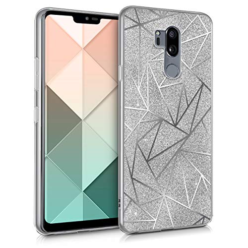 kwmobile LG G7 ThinQ/Fit/One Hülle - Handyhülle für LG G7 ThinQ/Fit/One - Handy Case in Splitter Glitzer Design Silber