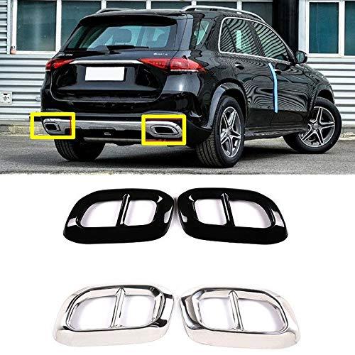 Car Styling Schwanz Throat Dekorrahmen gepasst Fit for Mercedes Benz GLC GLE W167 GLS Klasse 2020 Auspuffrohrabdeckung Aufkleber Zubehör Autoteile ( Color Name : Silver , Size : For GLE Class 2020 )