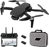 rzoizwko Drones, 5G WiFi FPV 2-Axis Gimbal Auto Return Home Follow Me Plegable RC Quadcopter Juguete GPS Drone con cámara 4K para Adultos, con baterías y Estuche de Transporte