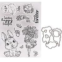イースターのウサギが幸せな考えを送るセットカッティングダイとスタンプDIYハンドアカウントスクラップブック透明シリコンシールPhotoAlbum