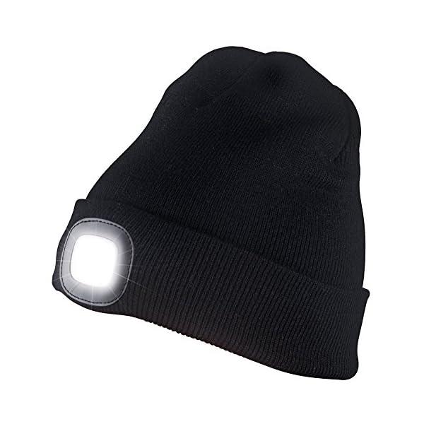 ANGTUO Sombrero Hecho Punto con luz, 4LED Faro Regulable Sombrero Desmontable Lavable Linterna Manos Libres para Correr… 2