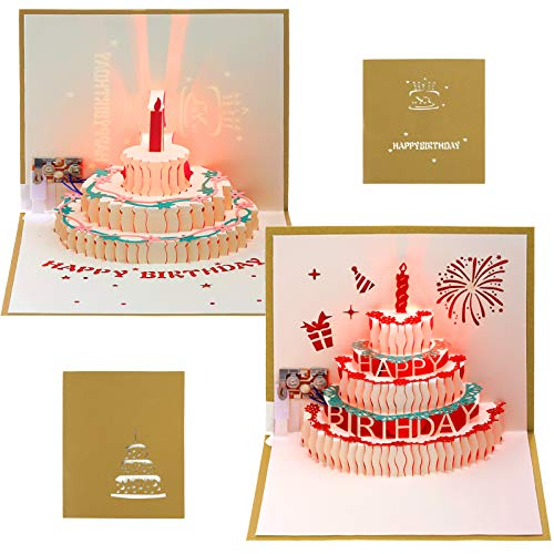 2 Packs 3D Happy Birthday Pop-Up Card LED Light Happy Birthday Music Card 3D Pop-Up Greeting Cards Handmade 3D Pop-Up Birthday Cards with Envelope for Family, Friend, Boy, Girl and Kids (Gold)