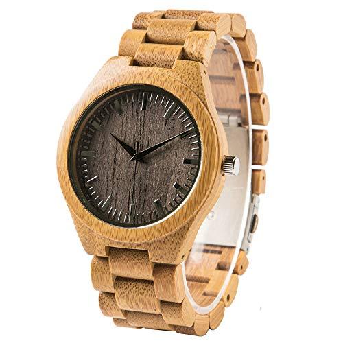 Orologio da polso in legno di bambù da uomo con incisione personalizzata personalizzata in legno orologio casual per Natale