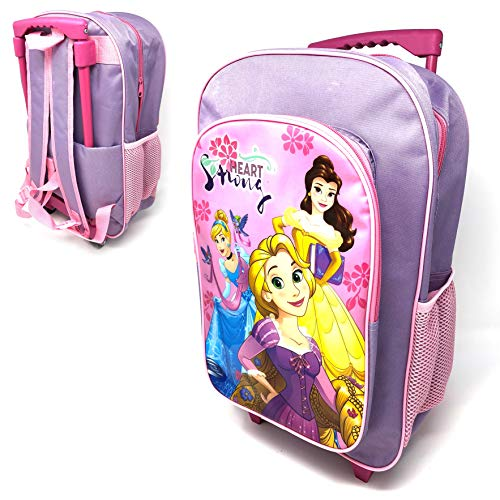 Children's Character Luggage Deluxe Wheeled Trolley Backpack Suitcase Cabin Bag School (Disney Princess)