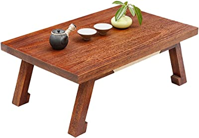 Coffee Table Room Few Bay Window Table Balcony Tatami Table Fashion Solid Wood Small Coffee Table Low Table Tables (Color : Brown, Size : 80 * 50 * 30cm)