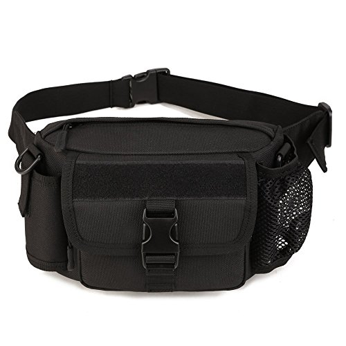 WOTOW Multi Functional Waist Pack, Military Single Shoulder Hip Belt Bag Fanny Packs Water Resistant Waist Bag Pouch Hiking Climbing Outdoor Bumbag with Water Bottle Pocket Holder (Black)
