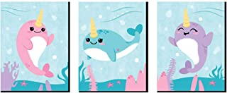 Big Dot of Happiness Narwhal Girl - Under the Sea Nursery Wall Art and Kids Room Decorations - Christmas Gift Ideas - 7.5 x 10 inches - Set of 3 Prints
