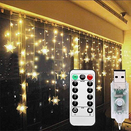 Lichterkette Eisregen Außen, Schneeflocke Weihnachtsbeleuchtung Lichtervorhang mit USB, 8 Modi und Timer Memory-Funktion und Dimmbar mit Fernbedienung, Deko Hochzeiten, Garten(Warmweiß)