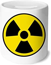 Yellow Danger Chemical Radiation Symbol Money Box Saving Banks Ceramic Coin Case Kids Adults