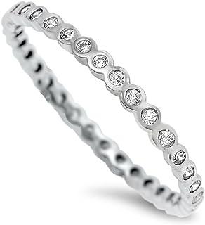 California Toe Rings Women's Sterling Silver Clear Crystal Eternity Midi Toe Ring