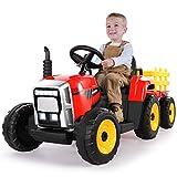 METAKOO Tracteur Électrique 12V 7Ah 2+1 Vitesse, Tracteur Jouet avec Remorque 7 Phares à LED, Bouton d'avertisseur/Lecteur MP3/ Bluetooth/Port USB/Télécommande pour Enfants de 3 à 8 Ans (Rouge)