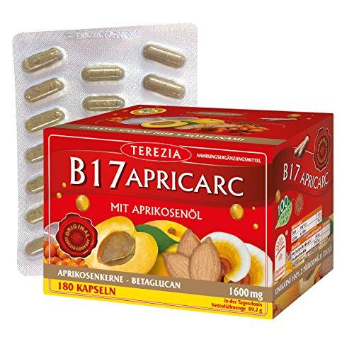 TEREZIA Apricarc Vitamin B17 I 1600mg Aprikosenöl Extrakt aus Aprikosenkerne I 100% natürlich - enthaltet Austernpilz, Reishi und Sanddorn I Bittere Aprikosenkerne Naturbelassen 180 Kapseln