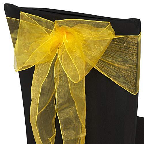 Trimming Shop Brillante Oro Organza Cintos Cubierta para Silla Color Surtido Fuller Lazo Cinta para Boda, Banquete, Cumpleaños, Evento Decoración, 17cm x 280cm, 50pcs