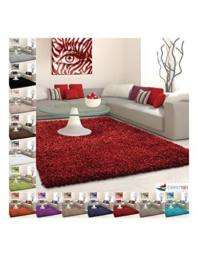 Carpet 1001 Tapis Shaggy, Poils Longs, Poils Longs, Couleur Unie, différentes Tailles et Couleurs - Rouge, 160x230 cm
