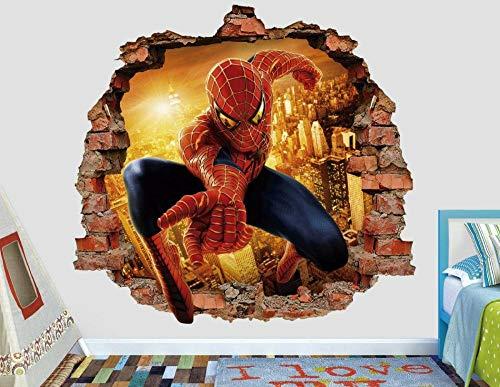 HUJL Wall Sticker Spider Spiderweb Wall Decal Decoration Kids Smashed 3D Sticker Art Vinyl