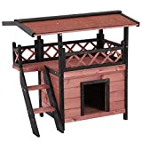 PawHut Wood Cat House Outdoor Luxury Wooden Room View Patio Weatherproof Shelter Dog Puppy Garden Scratch Post Large Kennel Crate