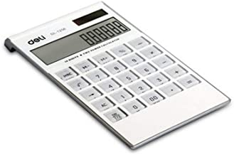 Calculator,12-Digit Widescreen Display Calculator, Office Business Calculator, Solar and Battery -White