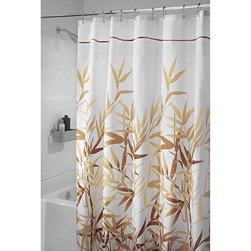 InterDesign douchegordijn van Anzu stof, extra lang douchescherm met tuinpatroon, polyester, bruin, 180 x 200 cm
