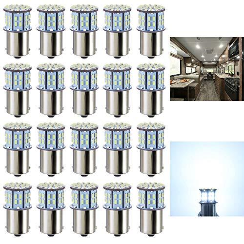 Antline 1156 1141 1003 7506 BA15S LED Bulbs Cool White 20-Packs, Super Bright 3014 50-SMD LED Replacement for 12 Volt RV…