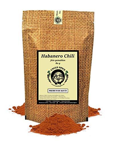 Uncle Spice Habanero Chilipulver - 80g Habanero-Chili Red Savina fein gemahlen in Premiumqualität - Habanero Chilischoten in Pulver, Chili Gewürzpulver - Achtung EXTREM SCHARF