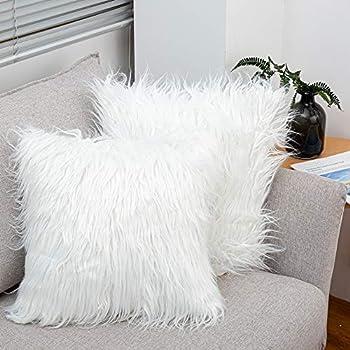 LDUSA HOME Soft Long Faux Fur Cushion Cover 2Pack Luxury Shaggy Pillowcase Fleece Style Series Fluffy Throw Pillow Cases for Sofa Bedroom Car 18x18 in 45x45cm White