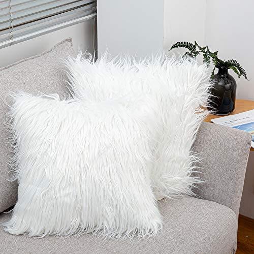 LDUSA HOME Soft Long Faux Fur Cushion Cover 2Pack Luxury Shaggy Pillowcase Fleece Style Series Fluffy Throw Pillow Cases for Sofa Bedroom Car, 18x18 in, 45x45cm, White