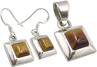 SilverStarJewel 9.7 Grams Jewelry Set 925 Silver Natural Tiger's Eye Earrings Pendant For Women