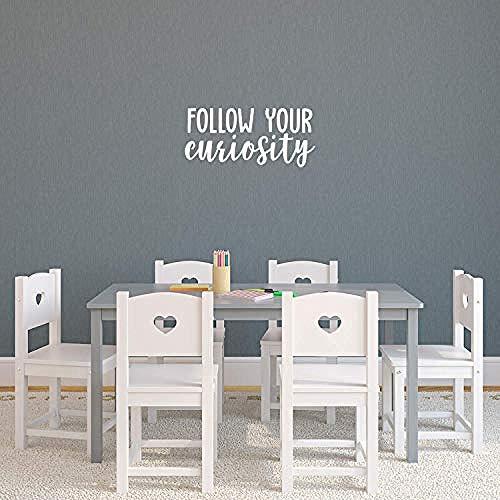 Folgen Sie Ihrer Neugier - 10 x 22 - Moderne inspirierende Zitat Aufkleber für Home Office Schlafzimmer Kinderzimmer Spielzimmer Schule Klassenzimmer Dekor (weiß)-Weiß