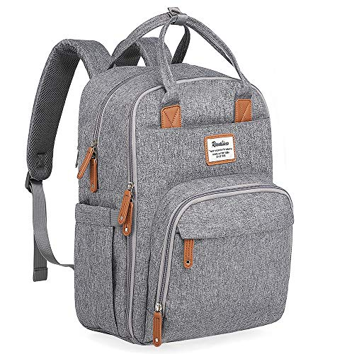 Changing Bag, Baby Nappy Backpack Travel Bags with Changing Mat for Mom and Dad (Gray)