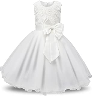 Girl's Lace Tulle Flower Princess Wedding Dress for Toddler and Baby Girl