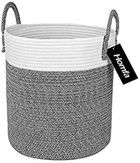 Homfa Cotton Rope Storage Basket, Decorative Woven Baby Laundry Hamper with Solid Handles for Kids Toy, Blanket, Nursery Living Room 13 x 13 x 15 Inch (Neutral White & Gray)