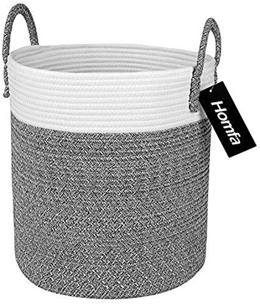 Homfa Cotton Rope Storage Basket Decorative Woven Baby Laundry Hamper With Solid Handles For Kids Toy Blanket Nursery Living Room 13 X 13 X 15 Inch Neutral White Gray