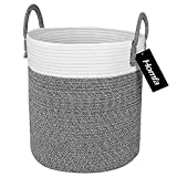 Homfa Cotton Rope Storage Basket, Decorative Woven Baby Laundry Hamper with Solid Handles for Kids...