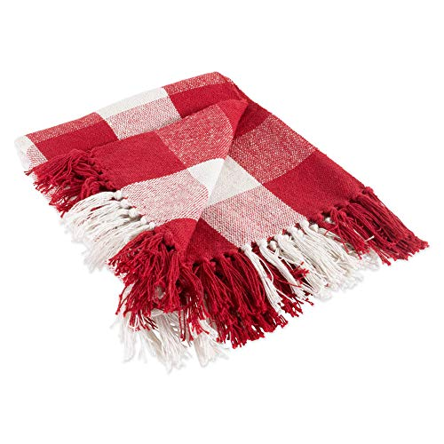 DII CAMZ11256 Rustic Farmhouse Throw Blanket with Decorative Tassles, Use for Chair, Couch, Bed, Picnic, Camping, Beach, Just Staying Cozy at Home, Red & White