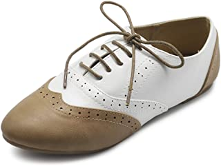 Ollio Womens Oxford-Flats White Size: 9.5