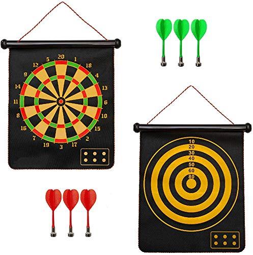 OUTAD Magnetisch Dartscheibe Kinder Dart Wurf Spiel Doppelseitige Dartboard Dartspiel Set Sicherheit für Kinder Erwachsene Freizeit Sport Freizeit mit 6 Dartpfeile Magnet Dart für drinnen und draußen