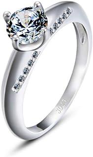 lem Abrillantador de anillosPlata de Ley 925 Brillantes Cristales de Corte Redondo Solitario Promesa Eternidad Anillos de ...
