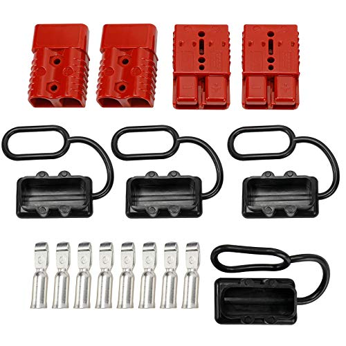 CRMENO 4 Pcs 2-4 Gauge 175A Battery Cable Quick Connect/Disconnect 600V Electrical Connector Plug Kit Quick Connect Systems for Tractors Recovery Winch Trailer