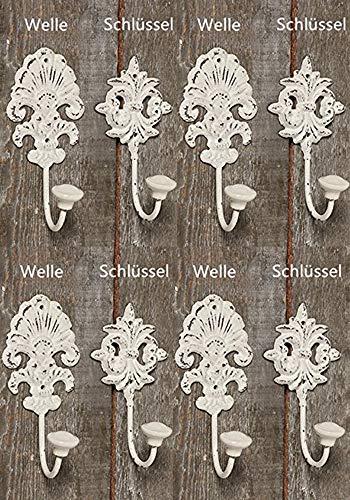 Tamia-Home Wandhaken Kleiderhaken Metallhaken Haken für Bad Küche Garderobe, Haken im Retro Vintage Stil (8er Set Weiss)