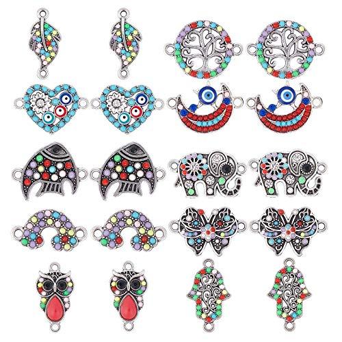 NBEADS 30 piezas de conectores de aleación para joyería con resina y diamantes de imitación para manualidades