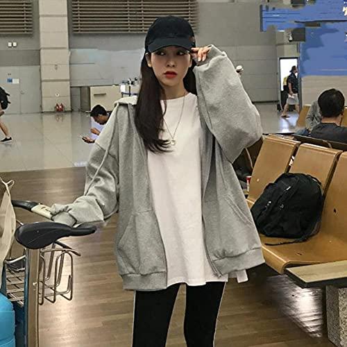 UKKO Sudadera Oversized Harajuku Streetwear Mujer con Capucha con Cremallera para Mujer Sudadera De...