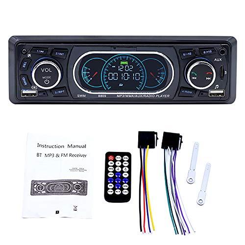 Youmine 1-DIN Car Stereo Audio In-Dash MP3 Radio Player Soporte USB TF AUX FM Receiver con Control Remoto y Puerto USB