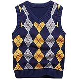 KID1234 Boy's School Uniform V-Neck Cable Front Color Block Plaid Sweater Vest (8) Dark Blue