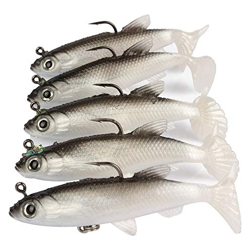 Symphonyw 5pcs/lot 8cm Grey Fishing Lures Sea Bass Carp Wobblers Silicone Artificial Bait (4A)