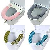Yolistar 4 Pezzi Coprisedile per WC, Universale Toilette Copri Sedile, Copriwater in Tessuto Lussuoso con Cerniera, Copriwater Tessuto, Copriwater Morbido, Bathroom Toilet Seat Cover (4 Stili)