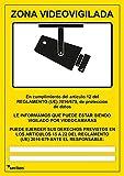 Señal videovigilancia - seribas - zona videovigilada – cartel cámara - vinilo adhesivo - A4 amarillo- 21 x 30cm