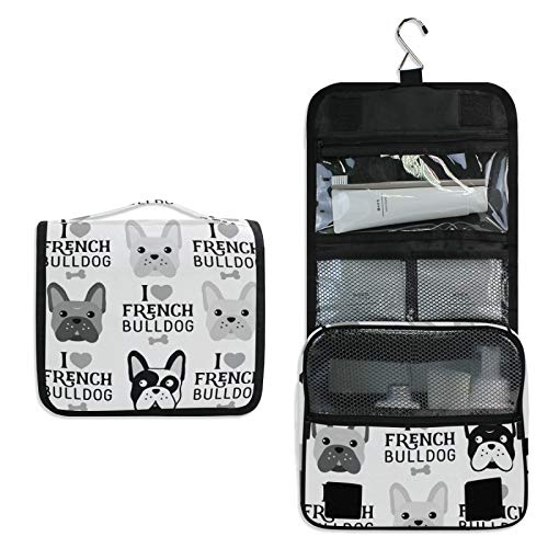 French Bulldog Heads Seamless Black White Women Travel Cosmetic Bag, Hanging Toiletry Wash bag, Portable Makeup Organizer Brush Case, Storage Bag with Hook for Bathroom Toilet
